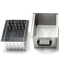 Bak met filter voor de afvoer, in R.V.S. (10-18 kg)
